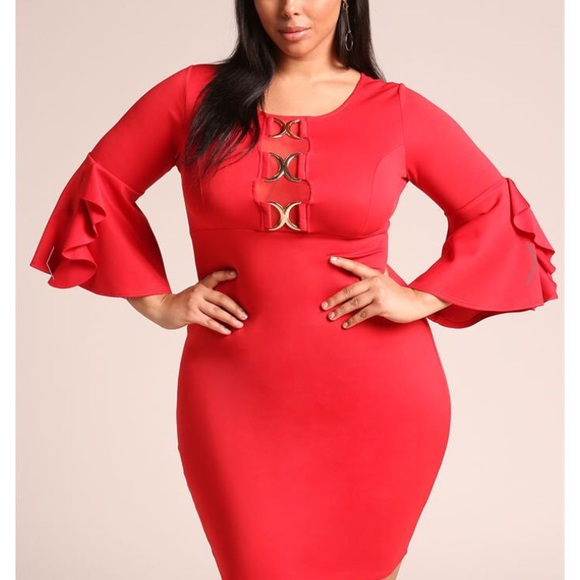 Find Me Plus Dresses | Plus Size Ruffle Bell Sleeves Bodycon Dress ...
